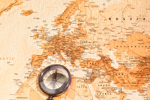 World map with compass showing Europe and the Middle Eastの写真素材 [FYI00487780]