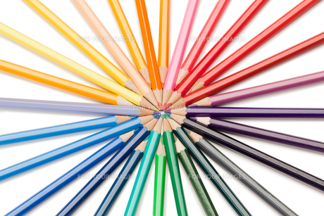 Top view of color pencils starの素材 [FYI00487803]