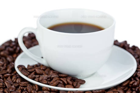 Cup of coffee and coffee beansの写真素材 [FYI00487827]