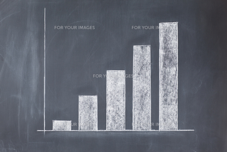 Bar chart drawn on a blackboard with nothing marked on itの写真素材 [FYI00487836]
