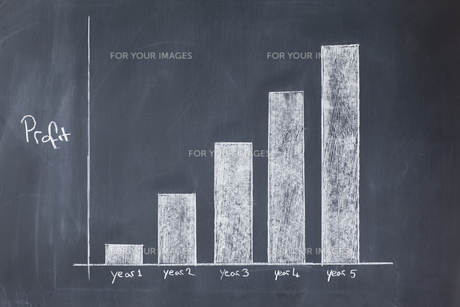 Bar chart drawn showing increasing profit against timeの写真素材 [FYI00487927]