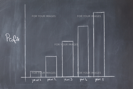 Bar chart drawn showing increasing profit against timeの写真素材 [FYI00487962]