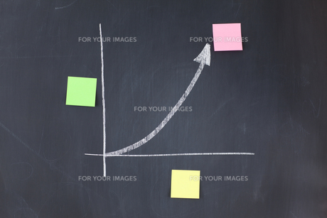 Blackboard graph with blank stickon notes on its axis and apexの写真素材 [FYI00487977]