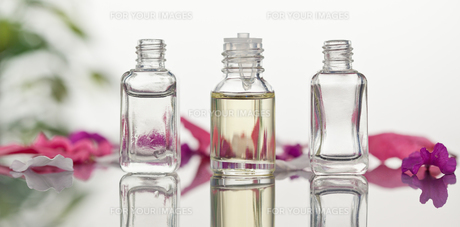 Glass flasks with leaves and pink petals focus on the flasksの写真素材 [FYI00487980]