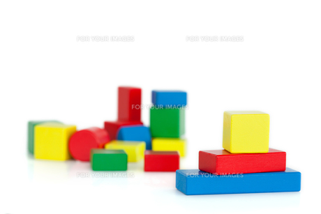 Colored toy building blocksの写真素材 [FYI00487982]
