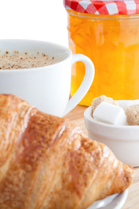 Breakfast with coffee a croissant and marmaladeの素材 [FYI00488019]