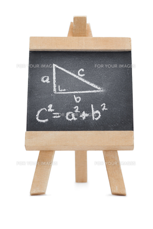 Chalkboard with a mathematical formula and a geomerical figure written on itの写真素材 [FYI00488021]