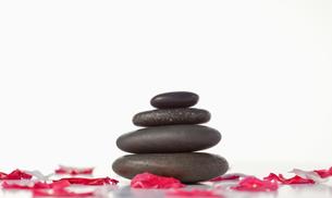 Pebbles stack and pink petalsの写真素材 [FYI00488028]