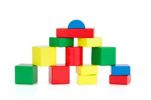 Colored wooden building blocksの写真素材 [FYI00488044]