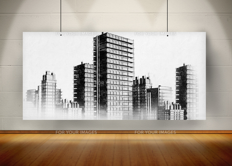 Picture of black and white city painted on screenの素材 [FYI00488070]