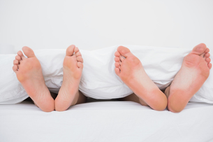 Feet of a couple in bedの素材 [FYI00488246]