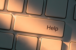 Keyboard with close up on help buttonの写真素材 [FYI00488304]
