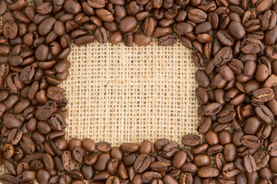 Coffee beans with rectangular indent for copy spaceの写真素材 [FYI00488312]