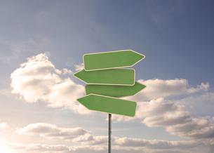 Empty green road signの写真素材 [FYI00488316]