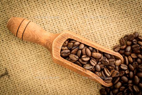 Wooden shovel full of coffee beansの素材 [FYI00488339]