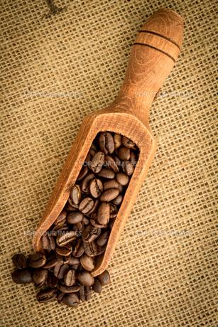 Wooden shovel of coffee beansの素材 [FYI00488357]