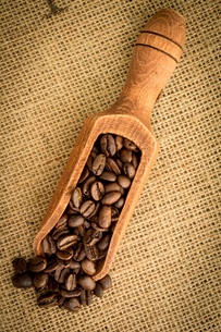 Wooden shovel of coffee beansの写真素材 [FYI00488357]