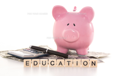 Piggy bank beside calculator and education spelled out in plastic letter piecesの写真素材 [FYI00488373]