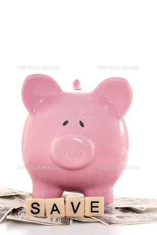 Close up of a piggy bank and save spelled out in plastic letters piecesの写真素材 [FYI00488410]