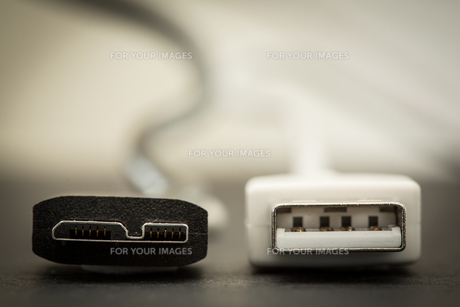 Close up of tip of black USB SS and white USBの写真素材 [FYI00488447]