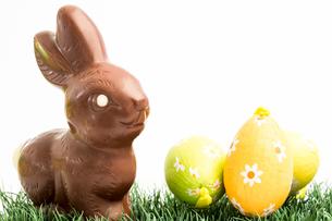 Chocolate bunny rabbit and three easter eggsの写真素材 [FYI00488514]