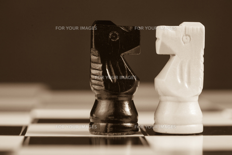 Two chess knights facing each otherの写真素材 [FYI00488515]