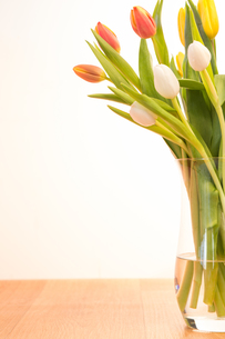 Glass vase of tulips on wooden tableの写真素材 [FYI00488540]