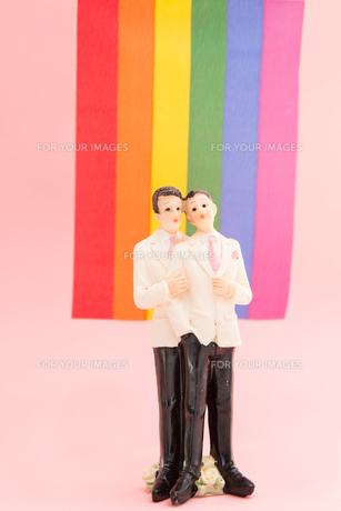 Gay groom cake toppers in front of rainbow flagの素材 [FYI00488547]