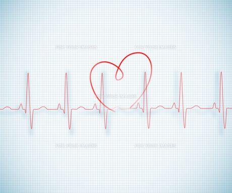 Red ECG line with heart graphic on grid backgroundの素材 [FYI00488561]