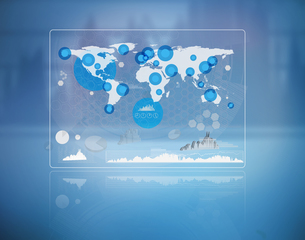 Futuristic screen with the world mapの写真素材 [FYI00488640]