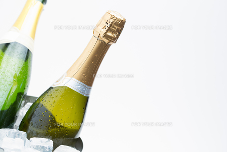 Two champagne bottles chilling on iceの写真素材 [FYI00488778]