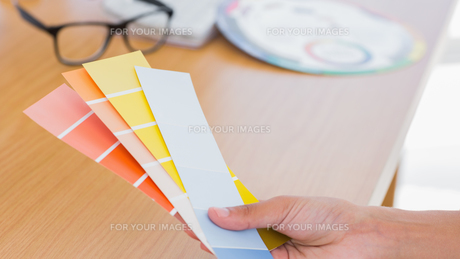 Hand holding colour chartsの素材 [FYI00488880]