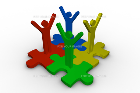 Group of meshed jigsaw pieces with colorful human representationの写真素材 [FYI00488902]