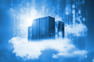 Data servers resting on clouds in blueの写真素材 [FYI00488906]