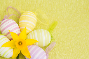 Yellow flower and easter eggsの写真素材 [FYI00488943]