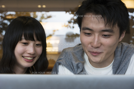 カフェでパソコンを見るカップルの素材 [FYI00491508]
