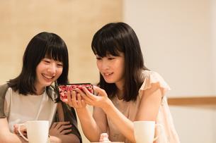 カフェでくつろぐ女性の素材 [FYI00491737]