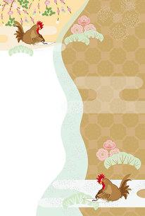 書き初めをするニワトリの和風縦型ポストカードの写真素材 [FYI00492972]