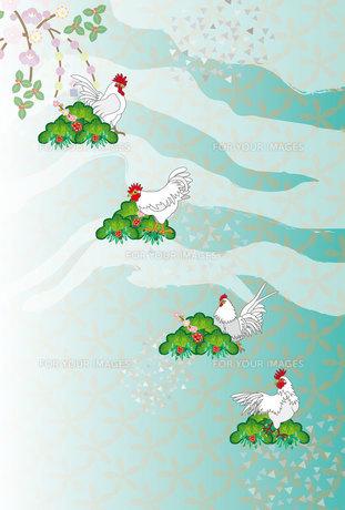 ニワトリと松とナンテンの和風デザイン年賀状の写真素材 [FYI00492985]