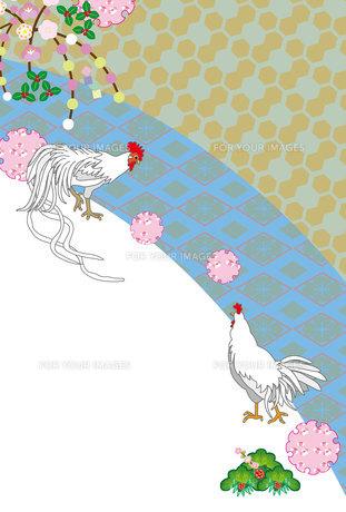 鶏と梅の花の和風縦型年賀状テンプレートの写真素材 [FYI00492987]