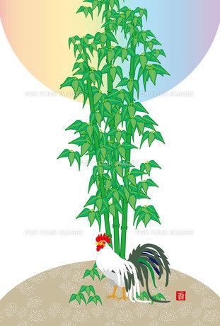 鶏と竹と日の出の和風縦型ポストカードの写真素材 [FYI00492991]