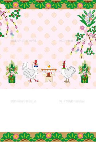 ニワトリと門松と鏡餅の可愛い年賀状テンプレートの写真素材 [FYI00493015]