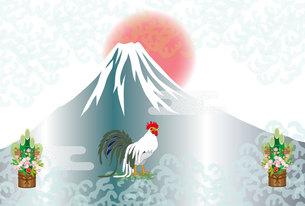 鶏と門松と日の出富士山の和風イラスト年賀はがきの写真素材 [FYI00493027]