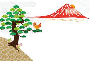ニワトリと日の出富士山と松の木のモダンなデザインはがきの写真素材 [FYI00493054]