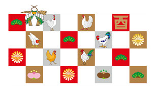 ニワトリとしめ縄のお正月のモダンなデザイン年賀はがきの写真素材 [FYI00493061]