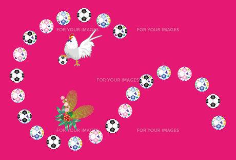 ニワトリとサッカーボールのピンクの年賀葉書の写真素材 [FYI00493068]