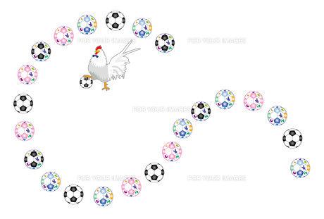 ニワトリとサッカーボールのおしゃれなポストカードの写真素材 [FYI00493069]