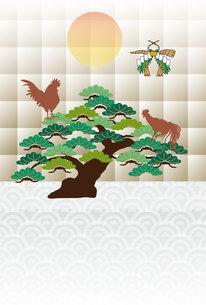 鶏と松の木と日の出の和風モダンなポストカードの写真素材 [FYI00493076]
