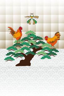 鶏と松の木の和風モダンなグリーティングカードの写真素材 [FYI00493077]