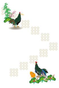 鶏と瓢箪と松竹梅の和風縦型ハガキの写真素材 [FYI00493078]